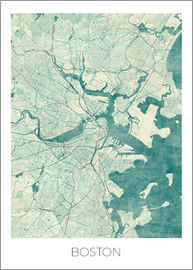 Hubert Roguski - Boston Map Blue