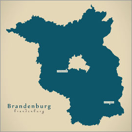 Ingo Menhard - Brandenburg DE Germany Map Artwork