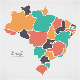 Ingo Menhard - Brazil map modern abstract with round shapes