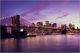 Brooklyn Bridge and Manhattan at purple sunset