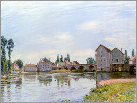 Alfred Sisley - River and Bridge, Moret
