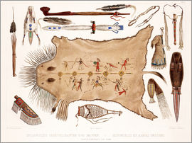 Karl Bodmer - buffalo robe and other articles of the mandans