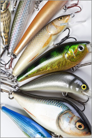 Colorful fishing hooks