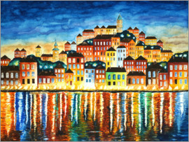 siegfried2838 - Colorful harbor at night landscape painting