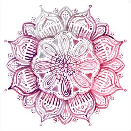 Micklyn Le Feuvre - Burgundy Blush Watercolor Mandala