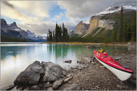 Gary Luhm - Canada, Alberta. A sea kayak ashore at Spirit Island, Maligne Lake, Jasper National Park.