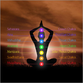 Chakras before evening sky