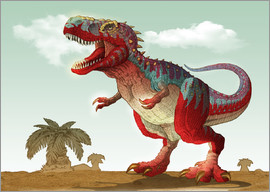 Colorful illustration of an angry Tyrannosaurus Rex.