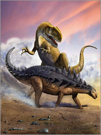 Sergey Krasovskiy - Confronation between a Neovenator and a Polacanthus armored dinosaur.