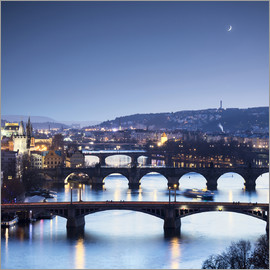 Roberto Moiola - Dusk lights on the historical bridges reflected on Vltava River
