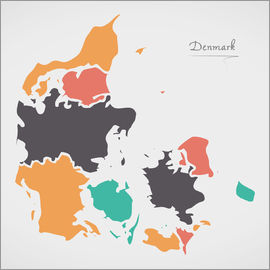 Ingo Menhard - Denmark map modern abstract with round shapes