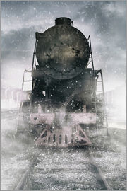 Jaroslaw Blaminsky - Steam train at the snowing day