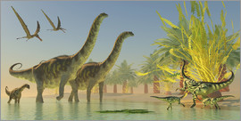 Corey Ford - Deinocheirus dinosaurs watch a group of Argentinosaurus walk through shallow waters.