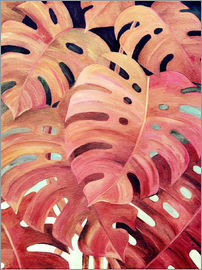 Micklyn Le Feuvre - Monstera Love in Magenta and Coral - oil painting