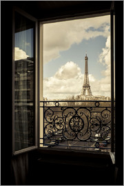 age fotostock - The Eiffel tower through a window