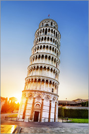 The leaning tower at dusk