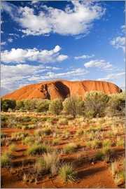 David Wall - Uluru or Ayers Rock, under a blue sky