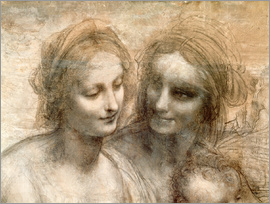 Leonardo da Vinci - Detail of the Heads of the Virgin and St. Anne
