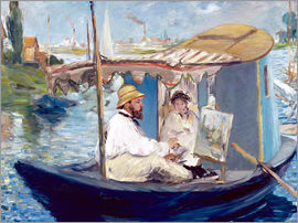 Edouard Manet - Monet painting on his studio boat