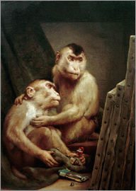 Gabriel von Max - The art critic - two monkeys look at a painting