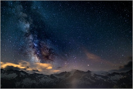 Fabio Lamanna - The Milky Way galaxy glowing over snowcapped mountains in the Alps