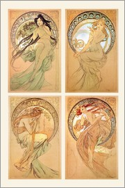 Alfons Mucha - The Four Arts, study collage
