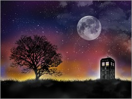 Golden Planet Prints - Doctor who tardis night sky tv serie inspired art print