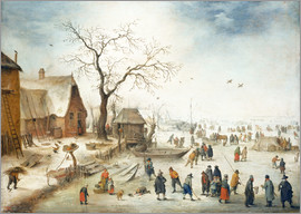 Jan Brueghel d.J. - Village in winter with farmers on the ice