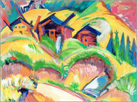 Ernst Ludwig Kirchner - Three cottages on the hill, red cabins