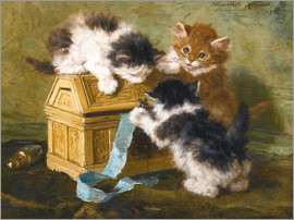 Henriette Ronner-Knip - Three Kittens with a casket