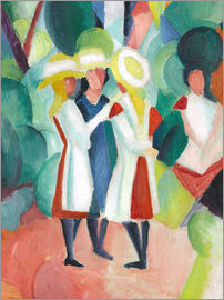 August Macke - Three girls in yellow straw hats