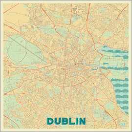 Hubert Roguski - Dublin, Ireland Map Retro