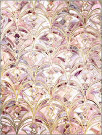 Micklyn Le Feuvre - Dusty Rose and Coral Art Deco Marbling Pattern