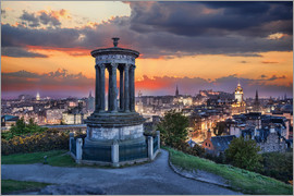 Edinburgh against sunset with Calton Hill