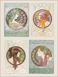 Alfons Mucha - Ivy & Byzantine Heads, collage