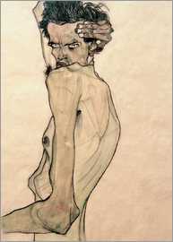 Egon Schiele - Egon Schiele with arms above the head