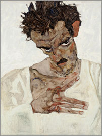 Egon Schiele - Egon Schiele with his head down