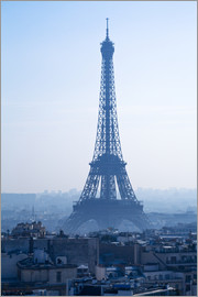 Eiffel Tower on blue spring morning