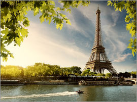 Eiffel tower on the river Seine, France