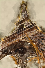Michael artefacti - Eiffel Tower Paris Tusche watercolor