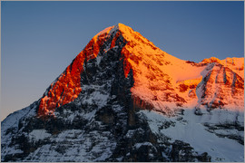 Peter Wey - Eiger mountain peak at sunset  View from Lauberhorn, kleine Scheidegg, Grindelwald, Switzerland