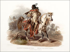Karl Bodmer - A Blackfoot indian on horseback