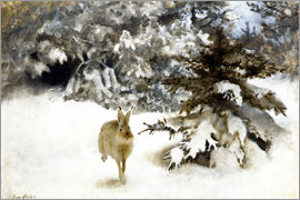 Bruno Andreas Liljefors - A hare in the snow