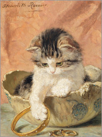 Henriette Ronner-Knip - a kitten playing with jewelry