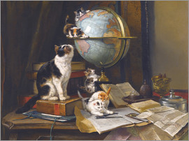 Henriette Ronner-Knip - A cat with a globe
