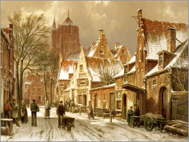 Hermanus Willem Koekkoek - A Winter Street Scene