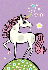 Little Miss Arty - - Unicorn with Flowers - vintage style