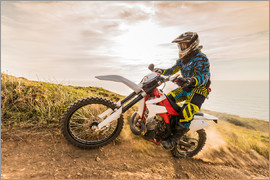 Enduro rider on the coast