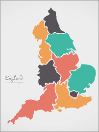 Ingo Menhard - England map modern abstract with round shapes