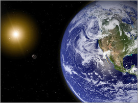 Stocktrek Images - Earth with water-bearing moon